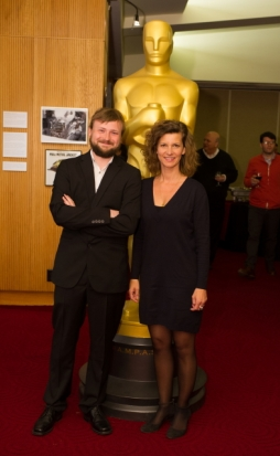 "Tom Van Avermaet (left) and Ellen De Waele (right), co-directors of the Oscar®-nominated live action short film ""Death of a Shadow (Dood van een Schaduw"". Credit: Darren Decker / ©A.M.P.A.S."
