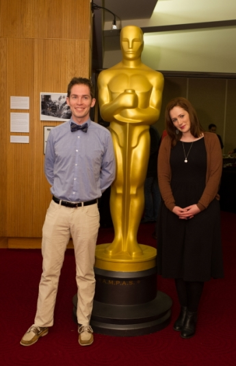 "Timothy Reckart (left) and Fodhla Cronin O'Reilly (right), co-directors of the Oscar®-nominated animated short film ""Head Over Heels"". Credit: Darren Decker / ©A.M.P.A.S."