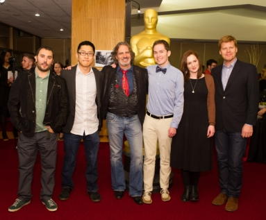 "(left to right): PES, ""Fresh Guacamole""; Minkyu Lee, ""Adam and Dog""; David Silverman, ""Maggie Simpson in ""The Longest Daycare""; Host Jason Schwartzman; Timothy Reckart, and Fodhla Cronin O'Reilly ""Head Over Heels"", and John Kahrs, ""Paperman"". Credit: Darren Decker / ©A.M.P.A.S."