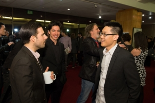 "Host Jason Schwartzman (left); Yan England director of the Oscar®-nominated live action short film ""Henry"" (center); and Minkyu Lee, director of the Oscar®-nominated animated short film ""Adam and Dog"". Credit: Darren Decker / ©A.M.P.A.S."