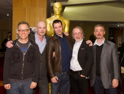 """(From left to right): Filmmakers of the Oscar®-nominated Animated Feature films: Rich Moore, """"Wreck-It-Ralph"""", Chris Butler, """"Paranorman"""", Mark Andrews, """"Brave"""", Peter Lord, """"The Pirates! Band of Misfits"""", and Sam Fell """"Paranorman"""". Credit: Darren Decker / ©A.M.P.A.S."""