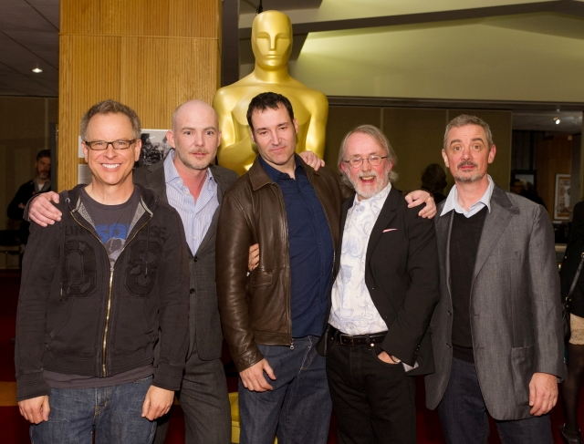 "(From left to right): Filmmakers of the Oscar®-nominated Animated Feature films: Rich Moore, ""Wreck-It-Ralph"", Chris Butler, ""Paranorman"", Mark Andrews, ""Brave"", Peter Lord, ""The Pirates! Band of Misfits"", and Sam Fell ""Paranorman"".Credit: Darren Decker / ©A.M.P.A.S."