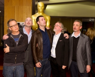 "(From left to right): Filmmakers of the Oscar®-nominated Animated Feature films: Rich Moore, ""Wreck-It-Ralph"", Chris Butler, ""Paranorman"", Mark Andrews, ""Brave"", Peter Lord, ""The Pirates! Band of Misfits"", and Sam Fell ""Paranorman"". Credit: Darren Decker / ©A.M.P.A.S."
