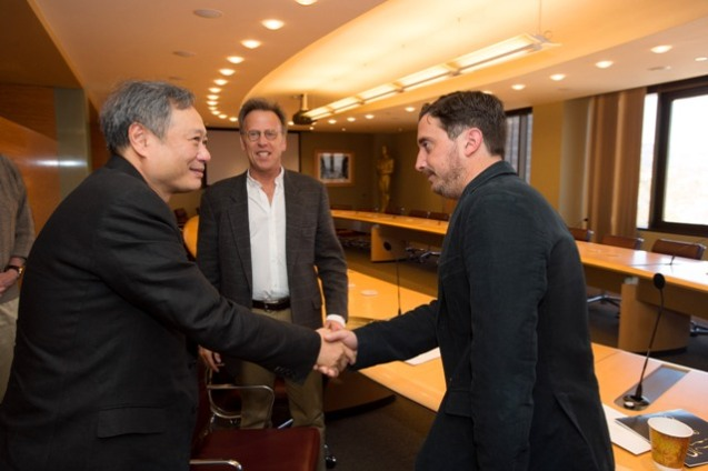 "Ang Lee, host Mark Johnson, and Pablo Larrain, ""No"". Credit: Matt Petit / ©A.M.P.A.S."