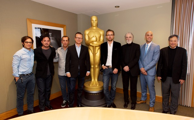 "(From left to right): Actor Gael Garcia Bernal, Pablo Larrain, ""No"", Nikolaj Arcel, ""A Royal Affair"", Espen Sandberg and Joachim Ronning, ""Kon Tiki"",  Michael Haneke, ""Amour"", Kim Nguyen, ""War Witch"" and Oscar winner Ang Lee.Credit: Matt Petit / ©A.M.P.A.S."