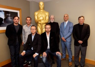 "Host Mark Johnson, Ron Yerxa , co-chair of the foreign language executive committee, Pablo Larrain, ""No"", Nikolaj Arcel, ""A Royal Affair"", Espen Sandberg and Joachim Ronning, ""Kon Tiki"", Michael Haneke, ""Amour"", Kim Nguyen, ""War Witch"", Oscar winner Ang Lee and Bruce Davis. Credit: Matt Petit / ©A.M.P.A.S."