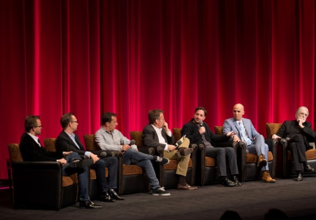 "Joachim Ronning and Espen Sandberg, ""Kon Tiki"", Nikolaj Arcel, ""A Royal Affair"", Host Mark Johnson, Pablo Larrain, ""No"", Kim Nguyen, ""War Witch"", and Michael Haneke, ""Amour"",. Credit: Matt Petit / ©A.M.P.A.S."