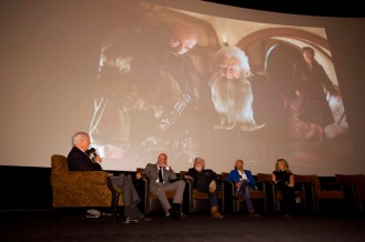 "Host Leonard Engelman and actor Graham McTavish with Oscar® Makeup Artists and Hairstylists Nominees Peter Swords King, Rick Findlater and Tami Lane, ""The Hobbit: An Unexpected Journey"" Credit: Matt Petit / ©A.M.P.A.S."