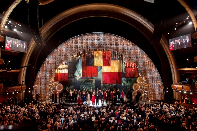 "The cast of ""Les Misérables"" performs on stage during the live ABC Telecast of The Oscars®"