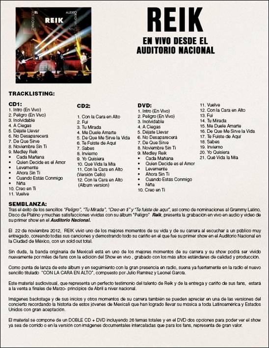 REIK - TRACKLIST - EN VIVO DESDE EL AUDITORIO NACIONAL - SONY MUSIC
