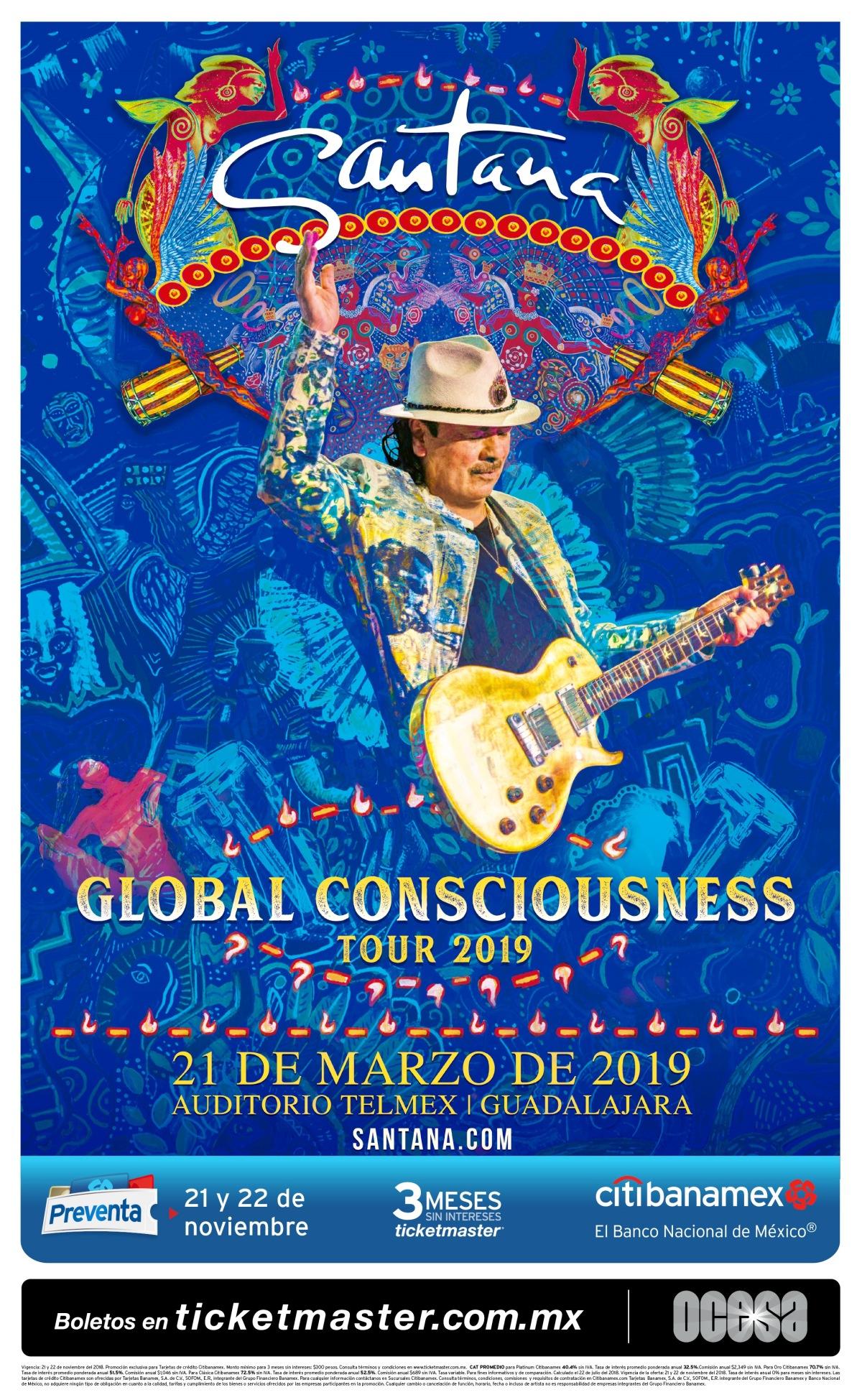 Carlos Santana traerá su Global Consciousness a México en abril de2019