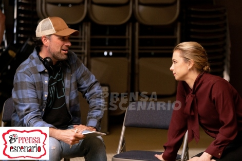 Director Sean Anders and Iliza Shlesinger on the set of Instant Family from Paramount Pictures.