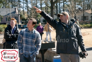 Director Sean Anders and Mark Wahlberg on the set of Instant Family from Paramount Pictures.