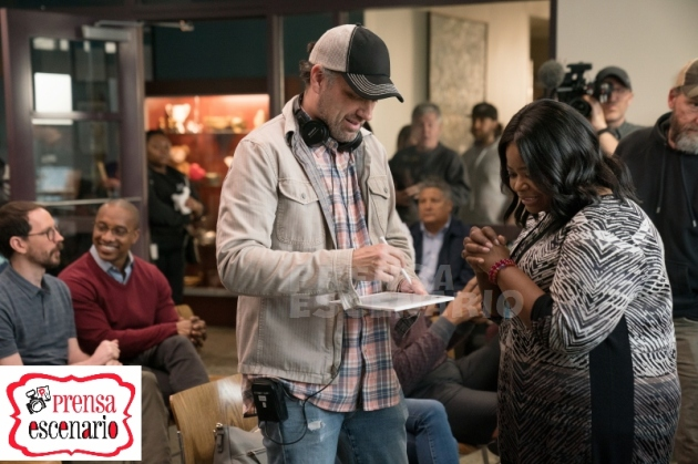 Director Sean Anders and Octavia Spencer on the set of Instant Family from Paramount Pictures.
