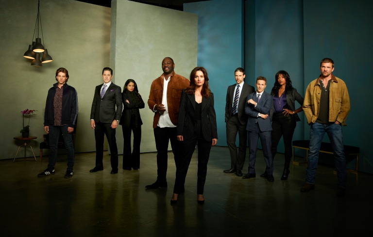 "THE FIX ABC's ""The Fix"" stars Alex Saxon as Gabriel Johnson, Scott Cohen as Ezra Wolf, Mouzam Makkar as Loni Kampoor, Adewale Akinnuoye Agbaje as Severen ""Sevvy"" Johnson, Robin Tunney as Maya Travis, Adam Rayner as Matthew Collier, Breckin Meyer as Alan Wiest, Merrin Dungey as CJ Emerson, and Marc Blucas as River ""Riv"" Allgood. (ABC/Ed Herrera)"
