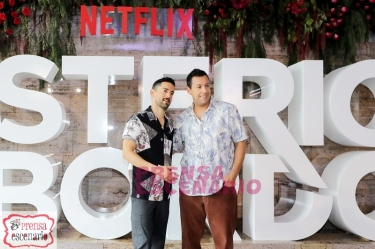 Luis Gerardo Mendez and Adam Sandler during Netflix, Murder Mystery Mexico Press Conference, June 2019