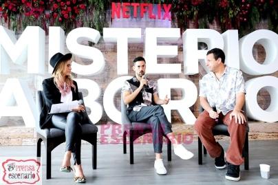 Gaby Cam, Luis Gerardo Mendez and Adam Sandler during Netflix, Murder Mystery Mexico Press Conference, June 2019