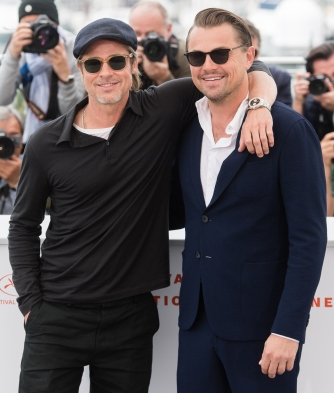 "CANNES, FRANCE - MAY 22: Brad Pitt and Leonardo DiCaprio attend the photocall for ""Once Upon A Time In Hollywood"" during the 72nd annual Cannes Film Festival on May 22, 2019 in Cannes, France. (Photo by Samir Hussein/WireImage)"