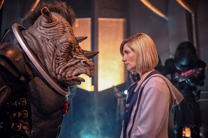 Picture shows: Judoon Captain and The Doctor (JODIE WHITTAKER). Copyright: BBC Studios. Photographer: James Pardon