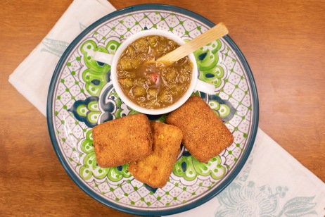 El Gourmet - Platos de cuchara 2 _Compota de ruibarbo y queso Chihuahua frito