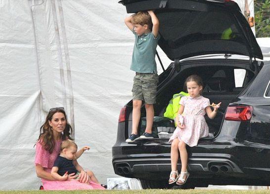Mandatory Credit: Photo by Tim Rooke/Shutterstock (10331673cw) Catherine Duchess of Cambridge, Prince Louis, Prince George, Princess Charlotte King Power Royal Charity Polo Day, Billingbear Polo Club, Wokingham, UK 10 Jul 2019