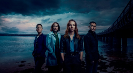 THIS IMAGE IS EMBARGOED UNTIL 00:01 HOURS BST ON 31ST AUGUST 2019 Picture Shows: Prof. Kathy Torrance (JENNIFER SPENCE), Prof. Sarah Gordon (LAURA FRASER), Emma (MOLLY WINDSOR), Daniel (MARTIN COMPSTON). Copyright: UKTV. Photographer - Des Willie.