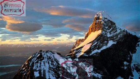 Picture Shows: Screen grab. Sunset catches the high peaks of the Andes mountains in Torres del Paine National Park, southern Chile.