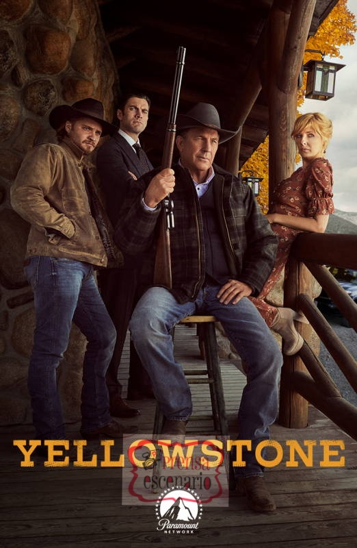 A Dutton family portrait - John Dutton (C-Kevin Costner), Kayce Dutton (L - Luke Grimes), Jamie Dutton (Wes Bentley) and Beth Dutton (R-Kelly Reilly). YELLOWSTONE returns to Paramount Network for a second season starting Wednesday, June 19 at 10 p.m., ET/PT.