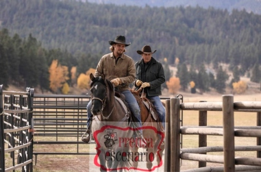 """Kayce Dutton (L-Luke Grimes) takes control of Dutton Ranch under the watchful eye of his fatherJohn Dutton (r-Kevin Costner) in Season 2 of """"Yellowstone"""" which premieres on Paramount Network starting Wednesday, June 19 at 10 PM, ET/PT."""