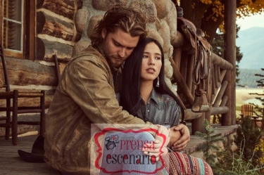 """Kayce Dutton (L-Luke Grimes) and his wife Monica Long-Dutton (Kelsey Asbille) struggle to build a life together on Yellowstone ranch. Season 2 of """"Yellowstone"""" returns to Paramount Network starting Wednesday, June 19 at 10 PM, ET/PT."""