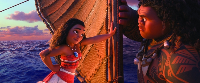 """Tenacious teenager Moana (voice of Auliʻi Cravalho) recruits a demigod named Maui (voice of Dwayne Johnson) to help her become a master wayfinder and sail out on a daring mission to save her people. Directed by the renowned filmmaking team of Ron Clements and John Musker, produced by Osnat Shurer, and featuring music by Lin Manuel Miranda, Mark Mancina and Opetaia Foa'i, """"Moana"""" sails into U.S. theaters on Nov. 23, 2016. ©2016 Disney. All Rights Reserved."""