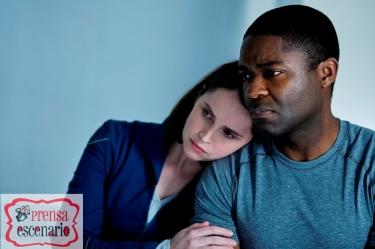 THE MIDNIGHT SKY (2020) Felicity Jones as Sully and David Oyelowo as Commander Tom Adewole. Cr. Philippe Antonello/NETFLIX ©2020