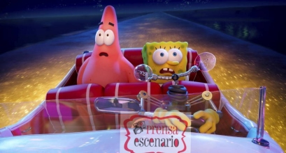 Patrick (voiced by Bill Fagerbakke), SpongeBob (voiced by Tom Kenny), and Otto (voiced by Awkwafina) in THE SPONGEBOB MOVIE: SPONGE ON THE RUN from Paramount Animation and Nickelodeon Movies. Photo Credit: Paramount Animation.